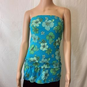 Guess strapless tank teal with green flowers